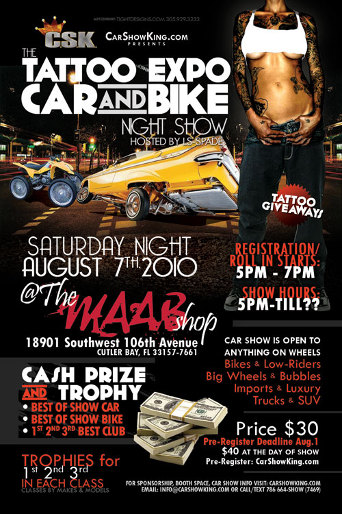 maab shop tattoo expo car show promotional flyer design. Black Bedroom Furniture Sets. Home Design Ideas