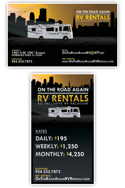 On The Road Again Rv Rentals Business Card Design