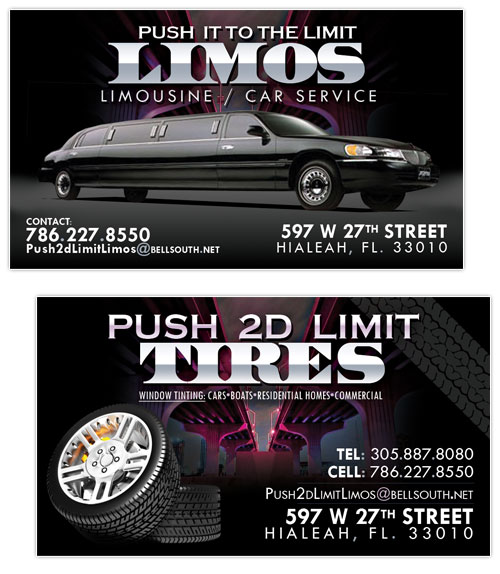 Business card design push 2d limit tires limos hialeah push 2d to the limit tires limo business card colourmoves Images