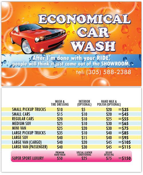 business card design economical car wash of hallandale fl. Black Bedroom Furniture Sets. Home Design Ideas