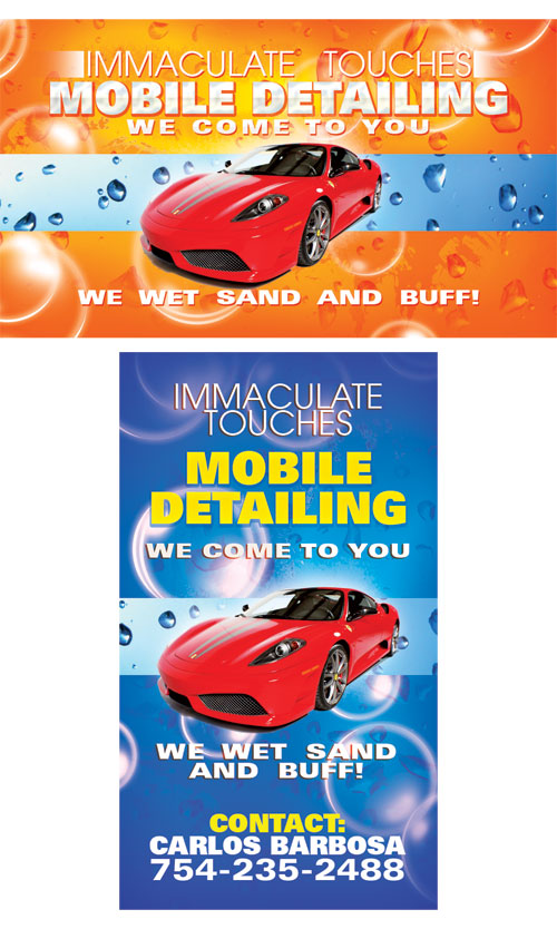 Immaculate Mobile Detailing Car Wash Business Card Design Tight