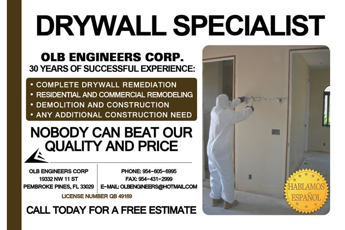 OLB Engineers Corp Drywall Specialist Pembroke Pines