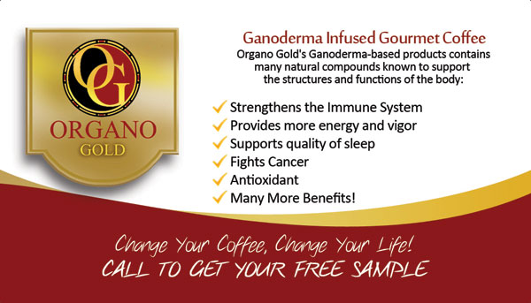Organo Gold Red Business Card Design