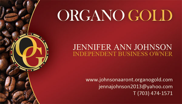Organo Gold Business Card Design for Jennifer Johnson