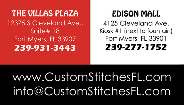 Custom Stitches Business Cards