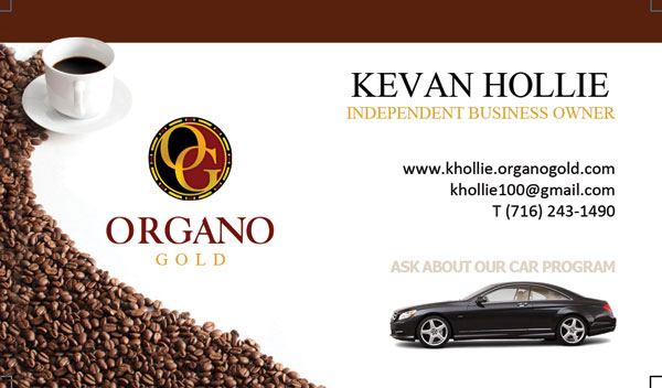 Kevin Hollie Organo Gold Business Card design