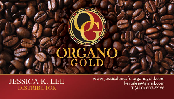 Jessica K Lee Organo Gold distributor cards