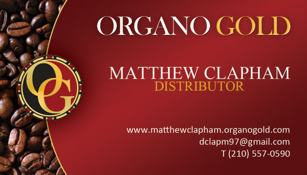 Matthew Clapham Organo Gold Business Cards