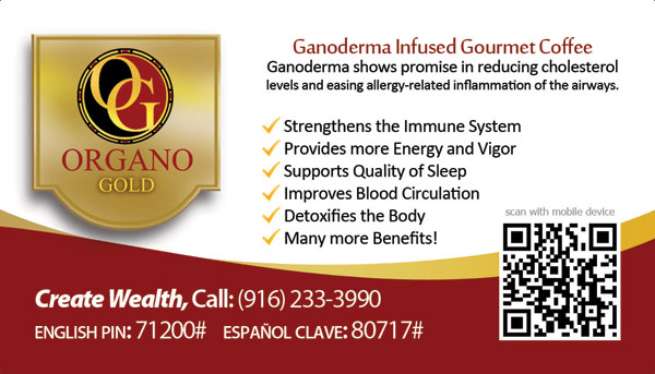 Robin S Daniels Organo Gold business cards