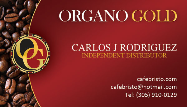 Carlos J Rodriquez Organo Gold Business Cards