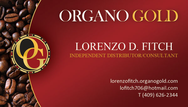 Organo Gold Business Cards for Lorenzo D Fitch