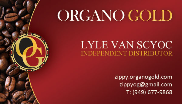 Lyle Van Scyoc Organo Gold business card