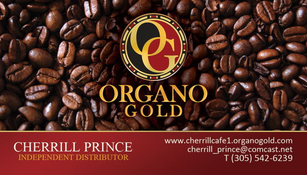 Cherrill Prince Organo Gold Business Cards