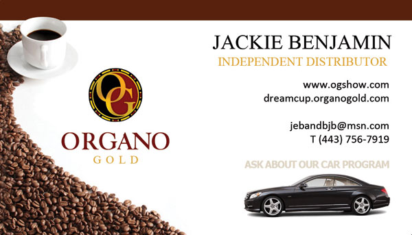 Jackie Benjamin Organo Gold Business Cards