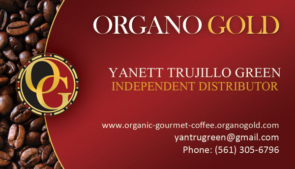 Yanett Trujillo Green Organo Gold Business Cards