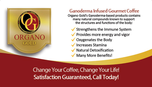 Alexis Rodriguez custom back side of Organo Gold Business Cards