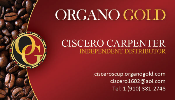 Ciscero Carpenter Organo Gold Business Cards