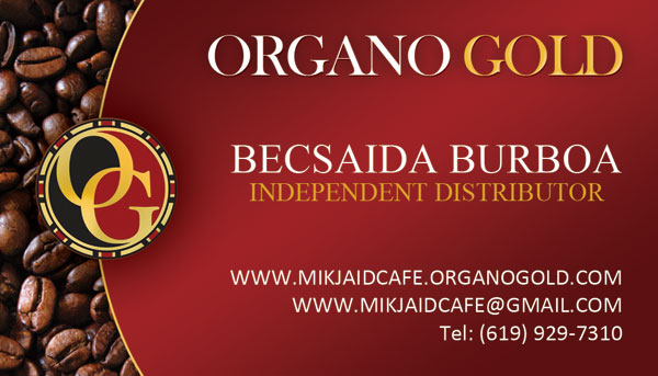 Becaida Burboa Organo Gold Business Cards