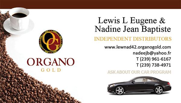 Lewis L Eugene & Nadine Jean Baptiste Organo Gold Business Cards