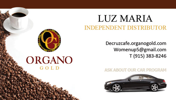 Luz Maria Organo Gold Business Cards
