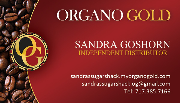 Low cost Organo Gold business card for Sandra Goshorn.