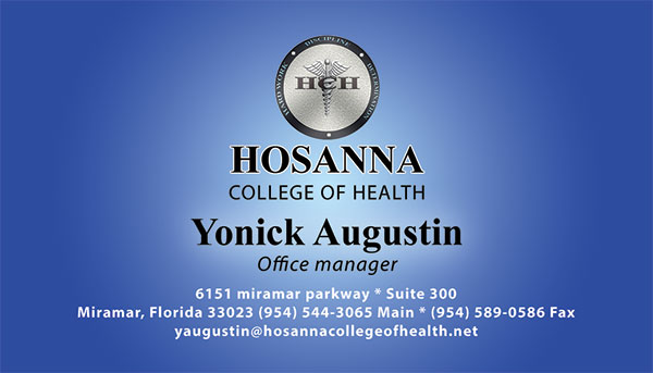 Hosanna College of Health in Miramar Business Cards