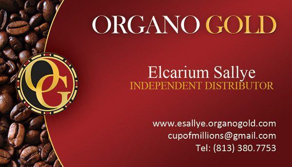 Cheap business cards for Elcarium Sallye's Organo Gold business.