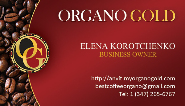 Organo Gold business card for Elena Korotchenko of Cafe Paris.
