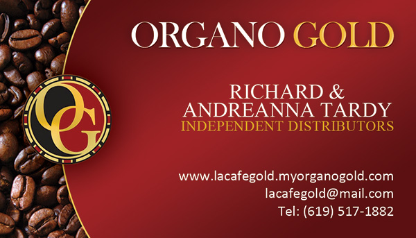 Richard & Andreanna Tardy Organo Gold Business Cards.
