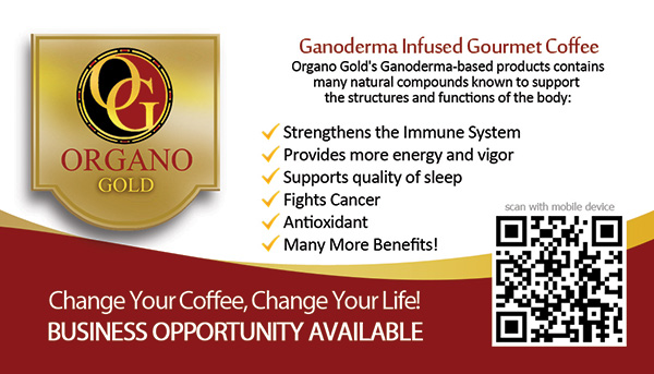 Richard & Andreanna Tardy Organo Gold Business Card with QR Code.