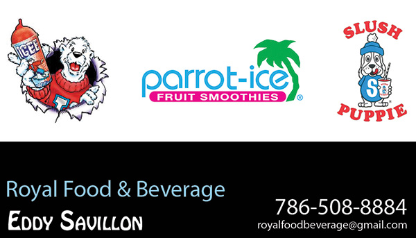 New business cards for Doral Florida company Royal Food and Beverage.