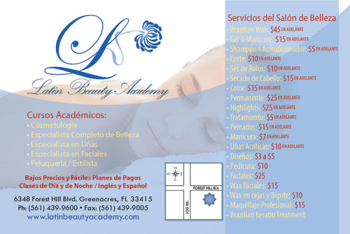Promotional postcard design for Latin Beauty School of Greenacres, Florida.