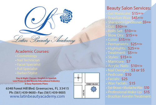 Promotional flyer design for Latin Beauty School of Greenacres, Florida.