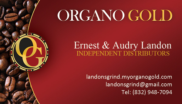 Ernest & Audry Landon Organo Gold Business Cards