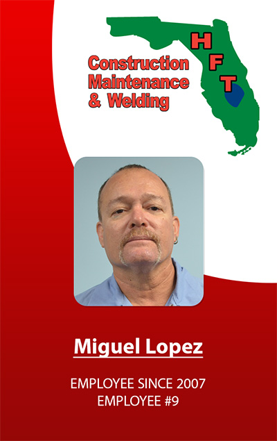 ID Badges for HFT Construction Maintenance and Welding of Davie Florida.