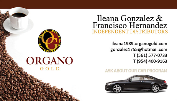 Ileana Gonzalez & Francisco Hernandez Organo Gold Business Cards