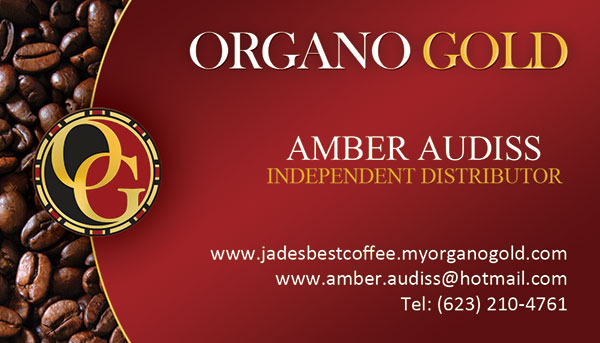Organo Gold Business card for Amber Audiss.