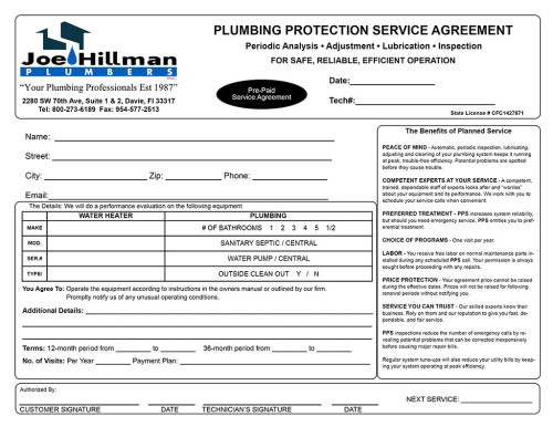 Joe Hillman Plumbers Service Agreement Invoice