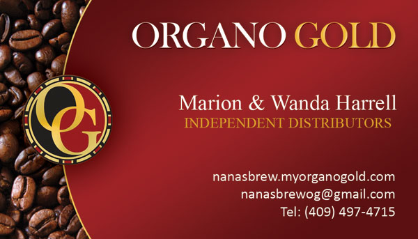 Organo Gold business card for Marion & Wanda Harrell.