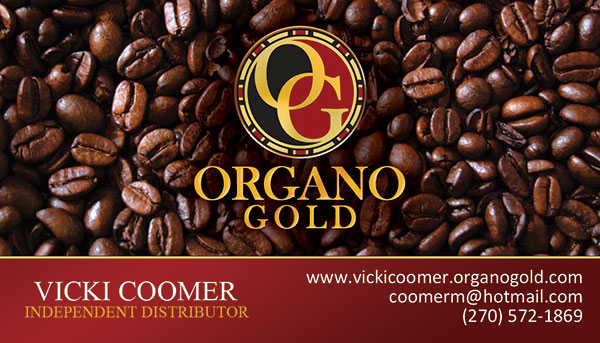 Organo Gold Business Cards for Vicki Coomer.
