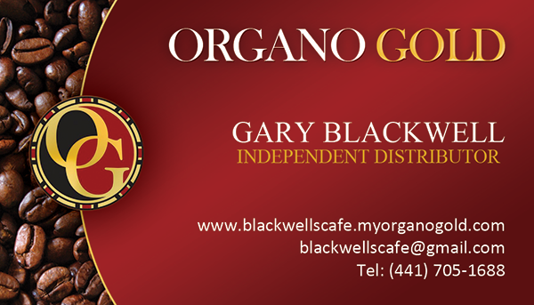 Organo Gold business cards for Gary Blackwell.