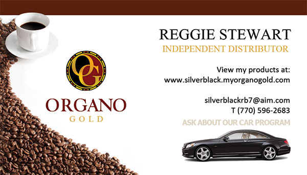 Organo Gold business card for Reggie Stewart promoting the Benz club.