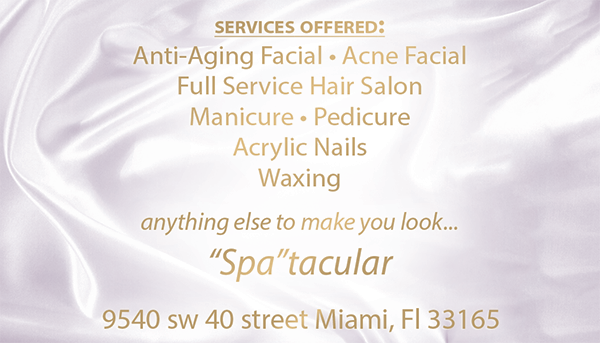 Business card for a Spa in Hialeah Gardens called Forever Young.