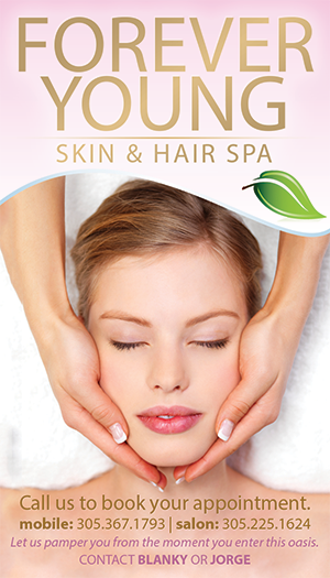 Business card for Hialeah Spa called Forever Young.
