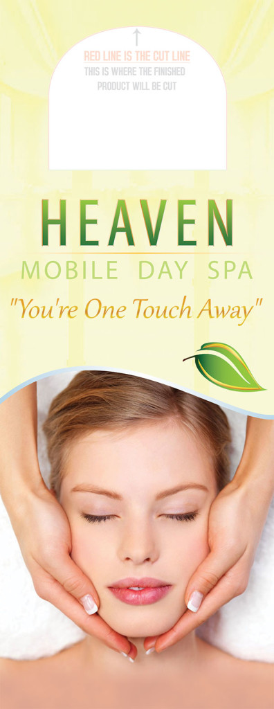 Custom Graphic Design Door Hangers for Heaven Mobile Day Spa.