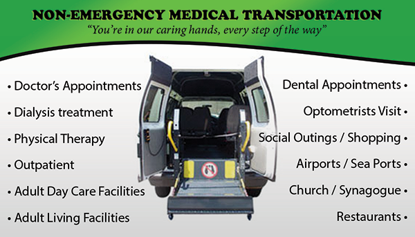 Business cards for non-emergency medical transportation.