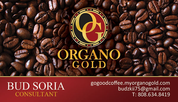 Bud Soria Organo Gold Business Cards