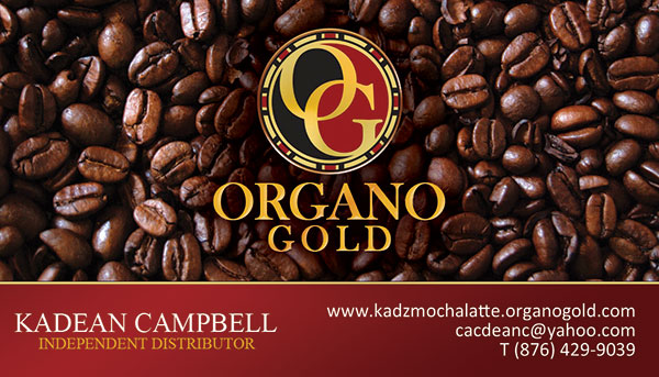 Organo Gold Business Cards for Kadean Campbell.