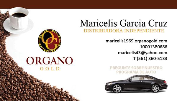 Organo Gold Tarjetas de Presentación para Maricelis Garcia Cruz