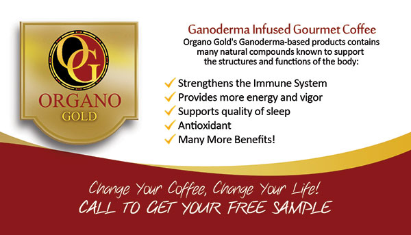 Organo Gold business cards for Victoria Huong Vo.